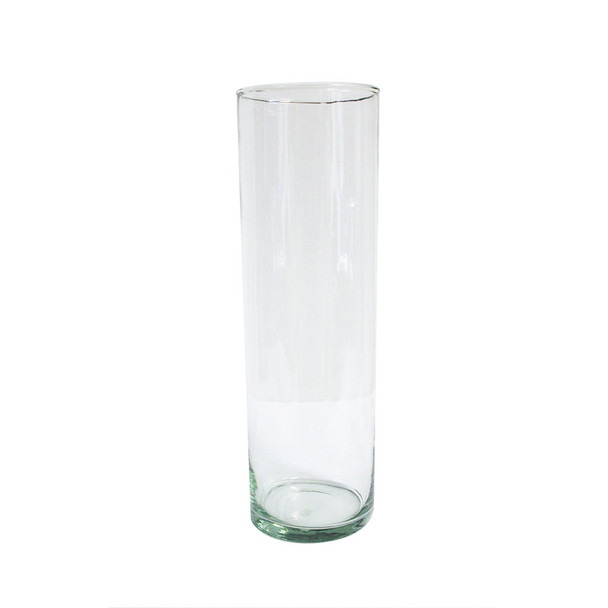 "14"" H Mexican Glass Cylinder Vase"
