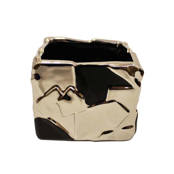"4""  Black and Silver Ceramic Cube"