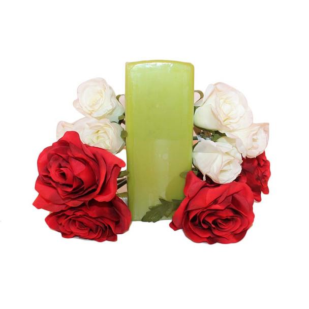 "2.75""X7"" Fresh Green Square Pillar Candle"