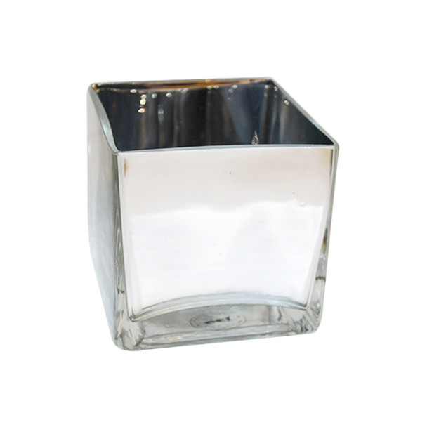 """4"""" Silver Glass Cube Vase"""