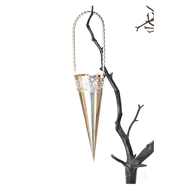 "6"" Silver Plated Iron Hanging Cone"