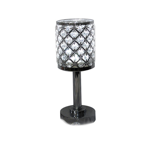 "12""  Silver/Clear Crystal Candle Holder"