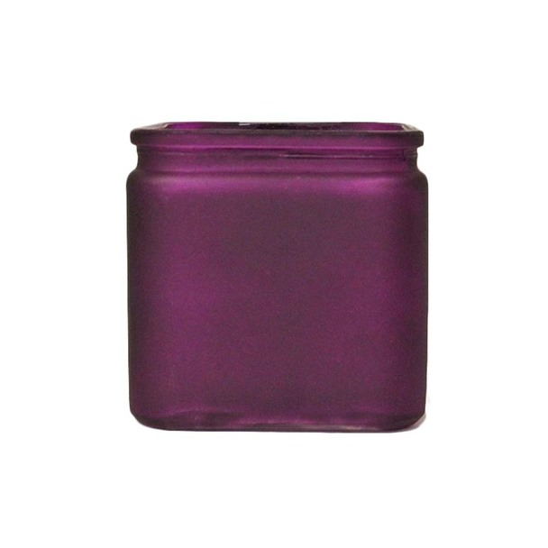 """4.75"""" Frosted Purple Glass Cube Vase With Lip"""