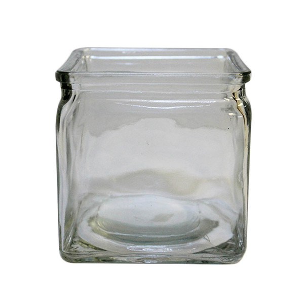 """4.75""""H Clear Glass Cube Vase With Lip"""