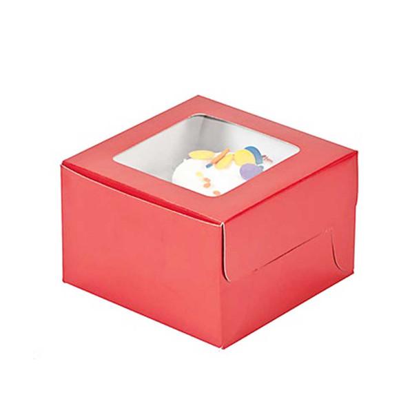 "4.5"" Red Cupcake Boxes"