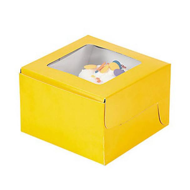 "4.5"" Yellow Cupcake Boxes"