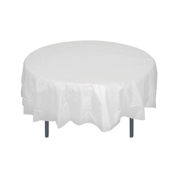 """84"""" White Round Plastic Table Cover"""