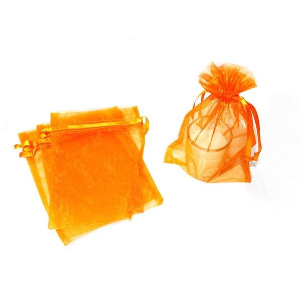 """3"""" Orange Organza Pouch"""