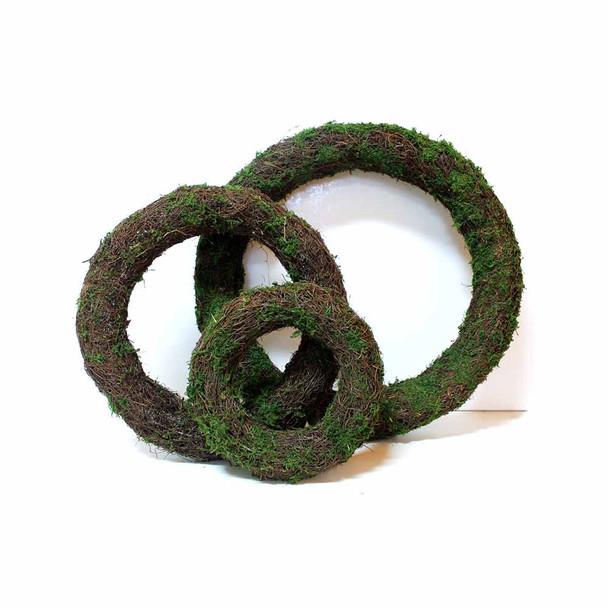 3 Piece Round Vine Moss Wreath