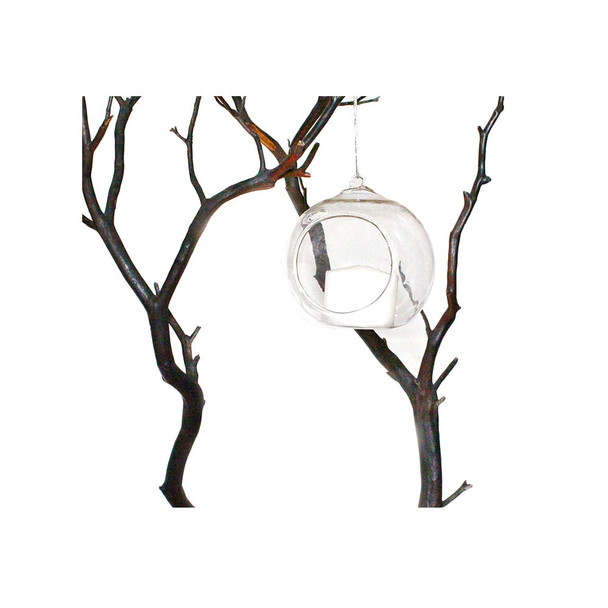 """4"""" Hanging Glass Ball Candle Holder"""