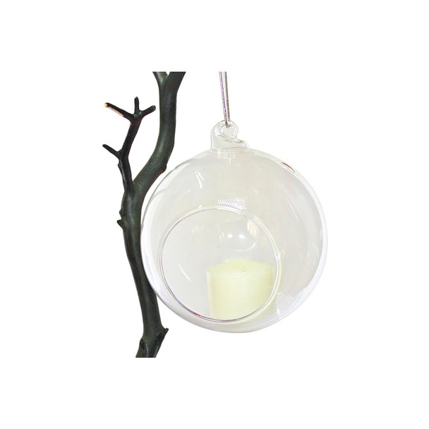 "6"" Hanging Glass Ball Candle Holder"