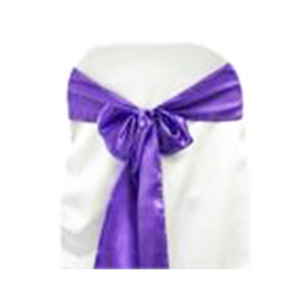Purple Satin Chair Bow 10 Pcs