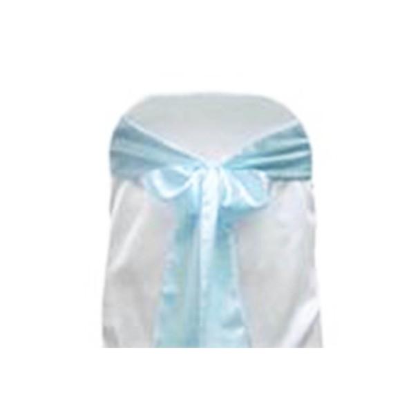 L. Blue Satin Chair Bow 10 Pcs