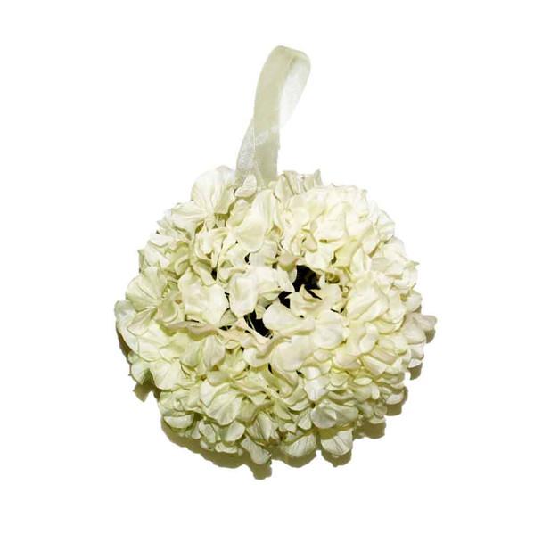 """9"""" White Hydrangea Flower Ball"""