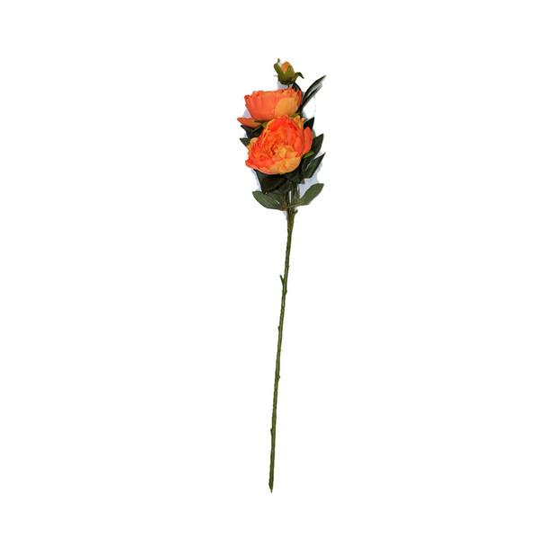 "34"" Orange Long Stem Peony Flower"