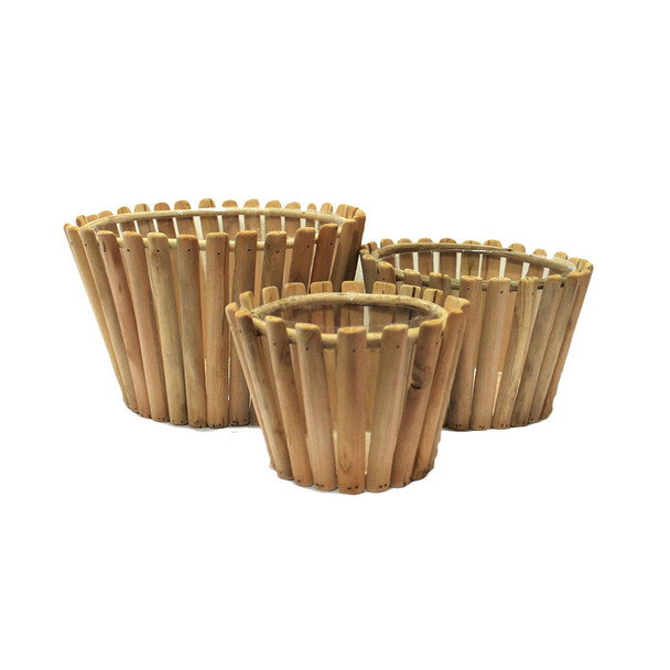 Round Wood Basket Set 3  KM3163