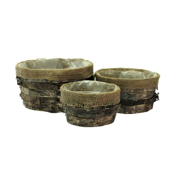 Round Bark and Burlap Basket Set of 3