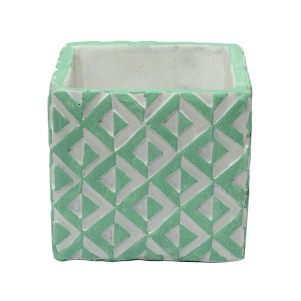 "4"" Green And White Ceramic Cube"