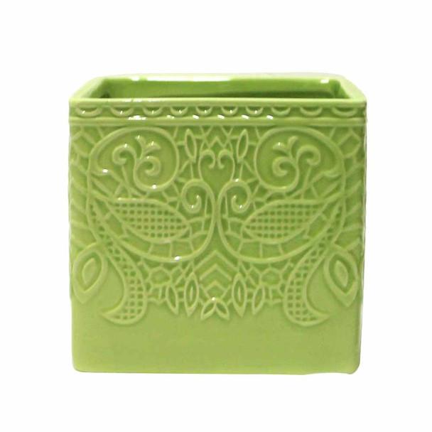 "4.5"" Green Ceramic Cube"