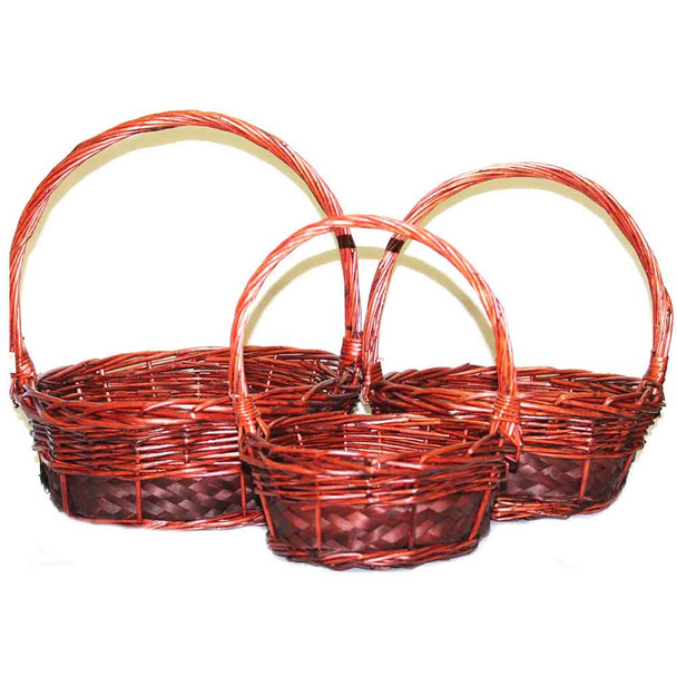 Stained Round Willow Basket With Handle Set of 3