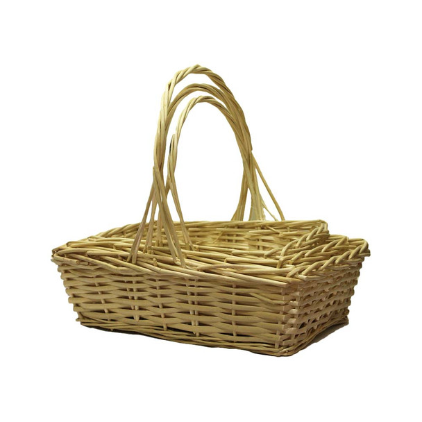 Natural Rectangular Willow Basket With Handle Set of 3