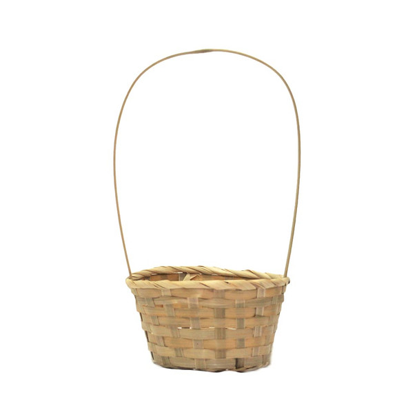 """6.5"""" Round Bamboo Basket With Handle"""