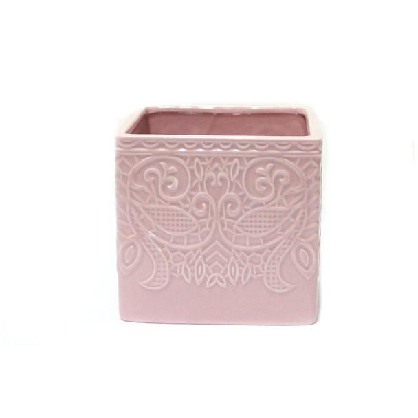 """4.5""""  Pink Ceramic Cube"""