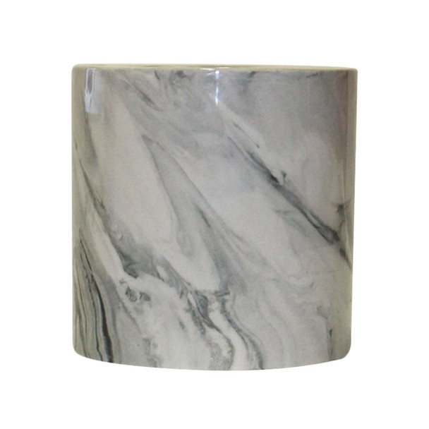 "4.5"" Ceramic Cylinder Vase With Grey Detail"