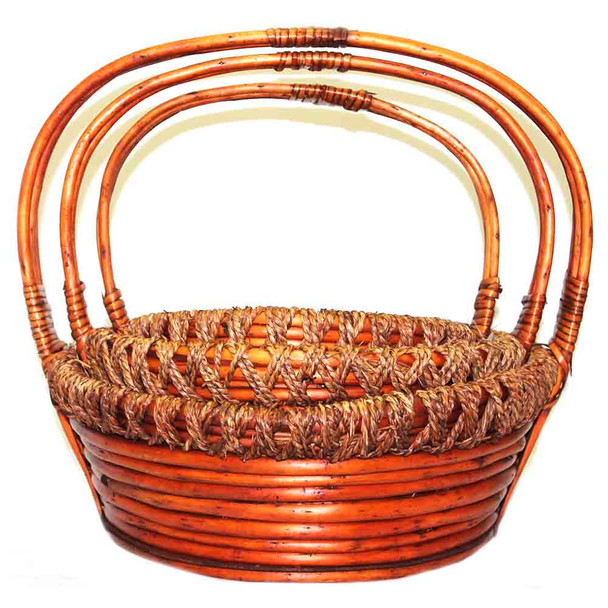 Stained Round Willow Rope Basket  With Handle Set of 3