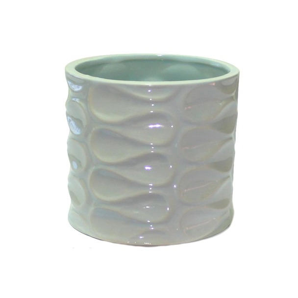 "4.5""H Blue Ceramic Cylinder With Pattern"