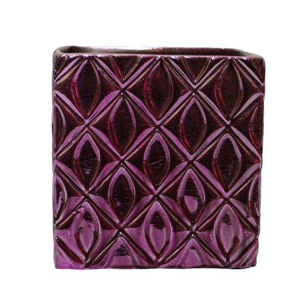 "4"" Purple Ceramic Cube"