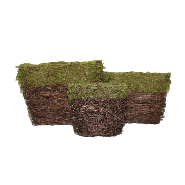 Square Twiggy Vine and Moss Basket Set 3