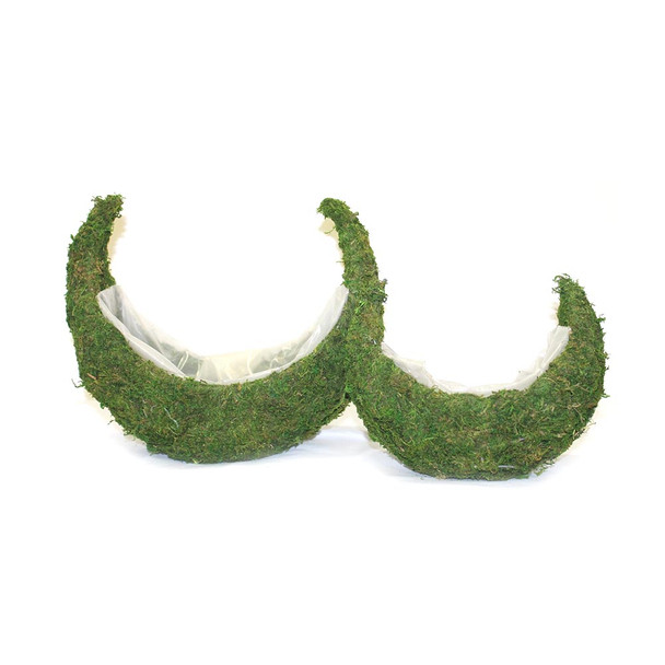 Half Moon Moss Basket Set of 2