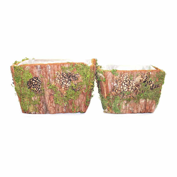 Square Bark and Moss Basket Set of 2