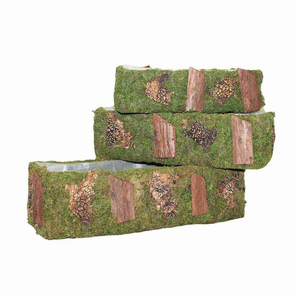 Rectangular Moss and Bark Basket Set of 3