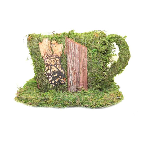 Moss Teacup with Wooden Details
