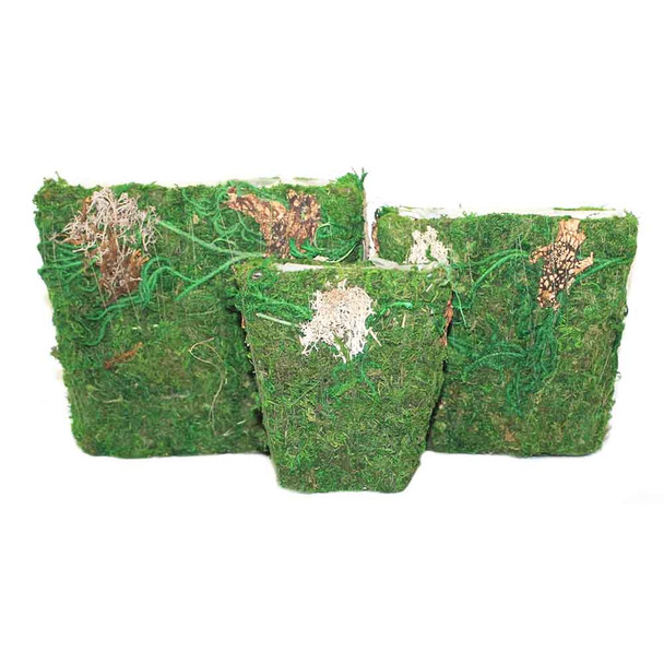 Square Moss and Bark Basket Set of 3