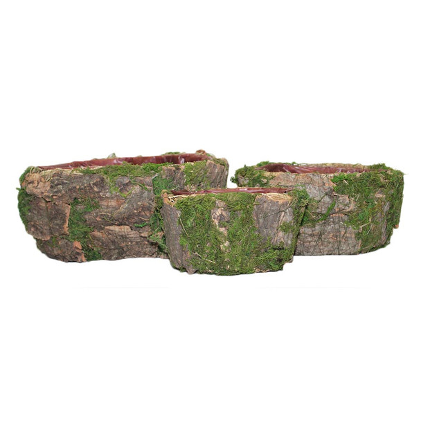 Oval  Bark and Moss  Basket Set of 3