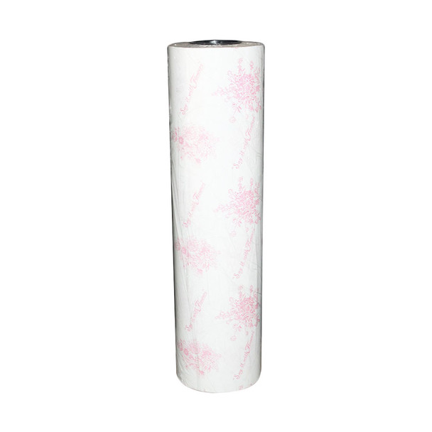 "24"" Pink On White Wax Paper Roll"