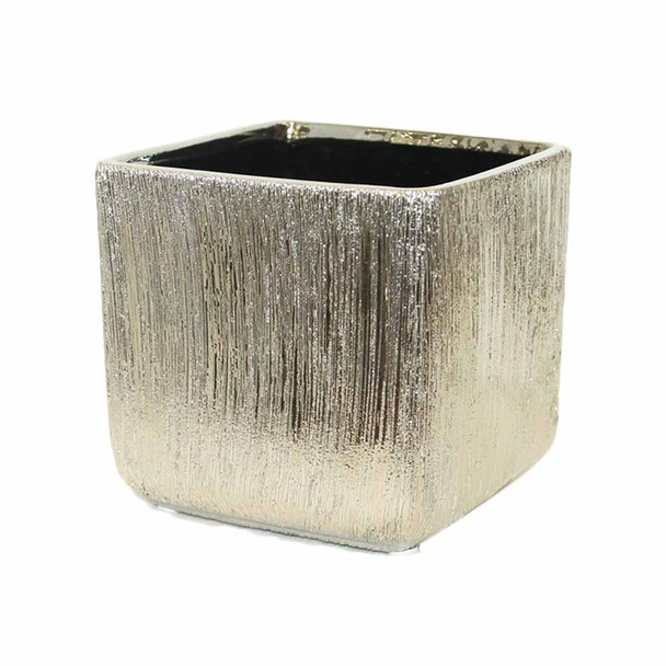"""5"""" Etched Silver Ceramic Cube"""