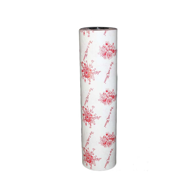 """24"""" Red On White Wax Paper Roll"""