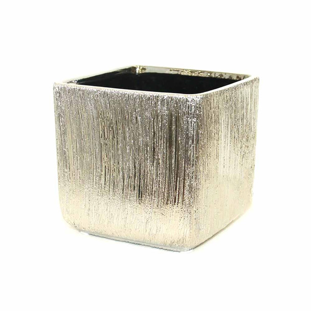 "4"" Etched Silver Ceramic Cube"