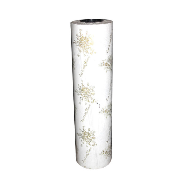 """24"""" Gold On White Wax Paper Roll"""