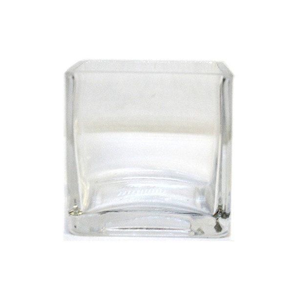 "3""H Clear Glass Cube Vase"