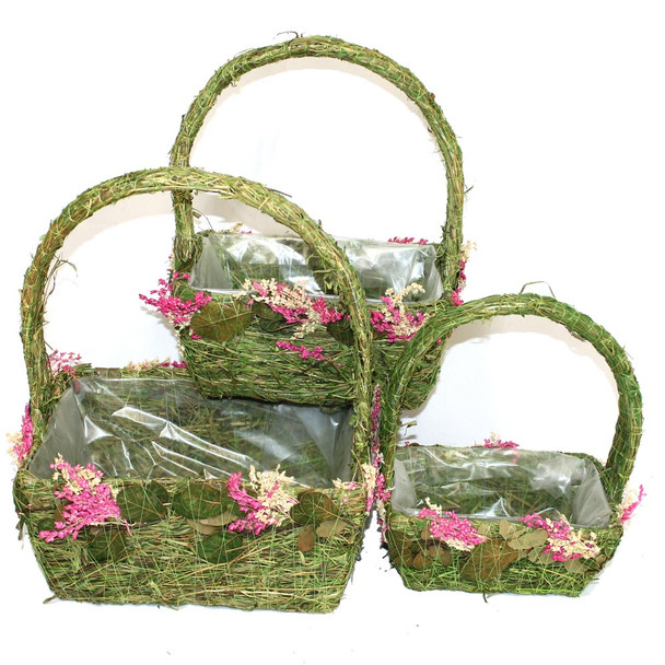 Rectangular Moss Vine and Flowers Basket With Handle Set of 3