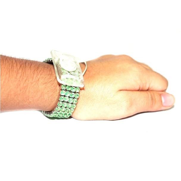 Apple Green Rock Candy Flower Bracelet