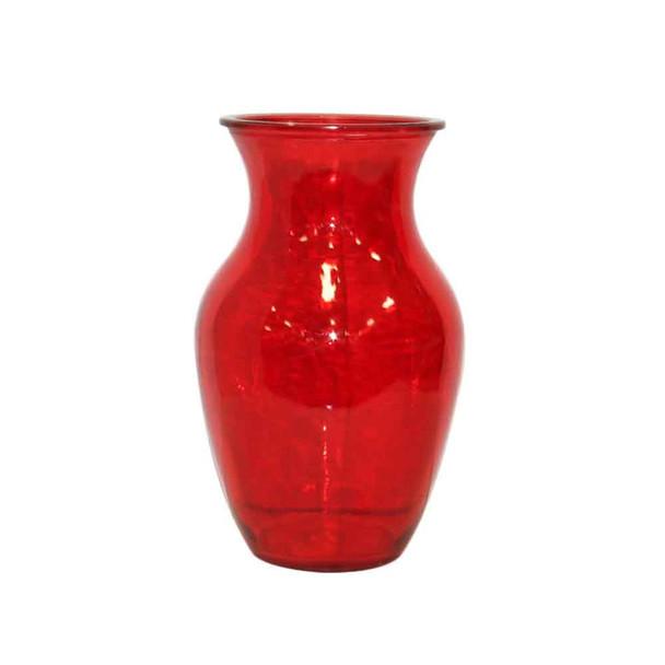 "8""H Red Glass Vase"