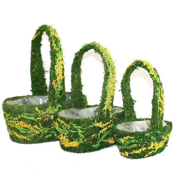 Oval Moss and Flowers Basket Set of 3