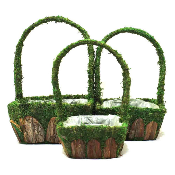 Square Moss and Bark Basket With Handle Set of 3  DY16038S