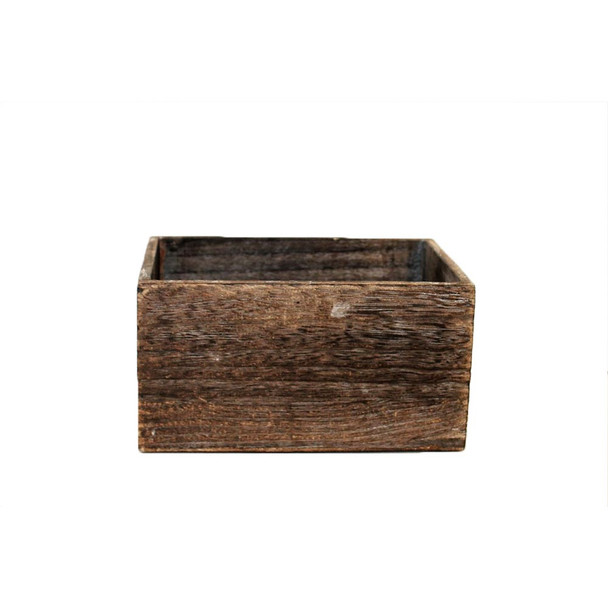 """7"""" Brown Rectangular Wood Planter With Liner"""